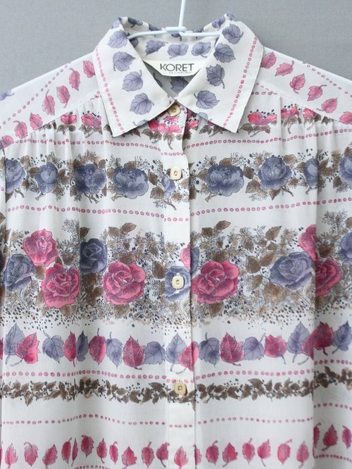 [] RE1102T1631 bottom vintage cream rose print vintage long-sleeved shirt