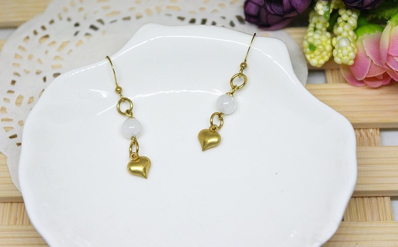 Natural stone brass X * love * Whitening - hook earrings