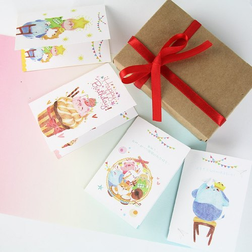 Gift premium fare service - painted texture wind cute little card + packaging as long as 50 yuan gifts festive birthday greeting card