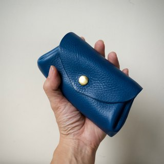 Leather Wallet Italian Natural Tanned Leather Mini Pouch Fave Vermeerblue