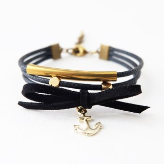 Black triple layers brass materials and nautical charm bracelet