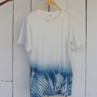 Comfortable hand-dyed isvara blue dye stream of pure cotton T-shirt Series