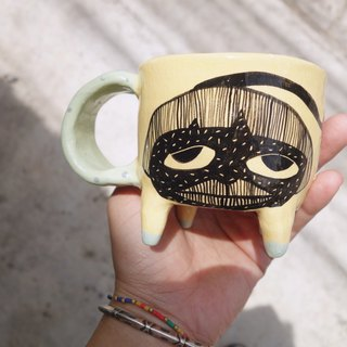 Ceramic mug yellow paint girl face :)