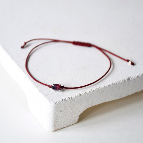 Handmade Simple Garnet with 925 silver Bracelet, Birth stone for January
