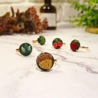 Embroidered cloth ring_Forest Series_Acorn