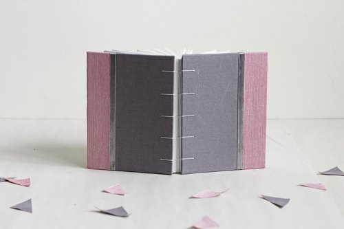 Small Size Coptic Bound Notebook. Gray and pink. Decorated with Ribbon
