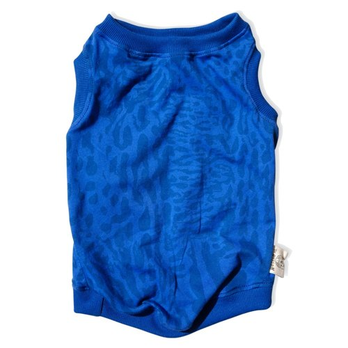 Handmade pet clothing - sporty leopard vest (blue)