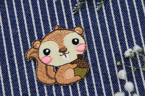 Squirrel self-adhesive embroidered cloth stickers - Forest cute animal series