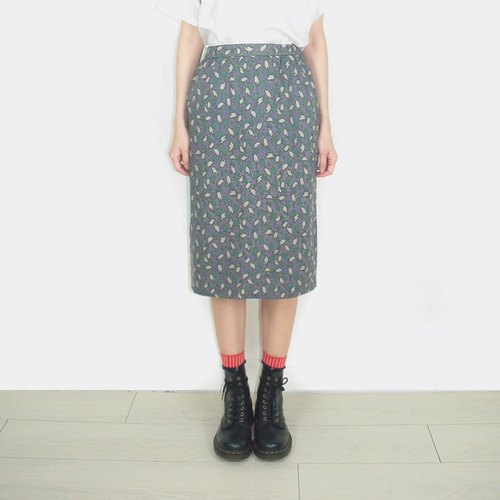 Leaf pattern vintage high waist chiffon Skirt AP2003