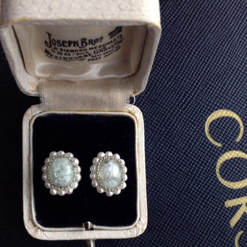 14kgf aquamarine and vintage pearl of the Oval earrings * Mimihari [ii-476]