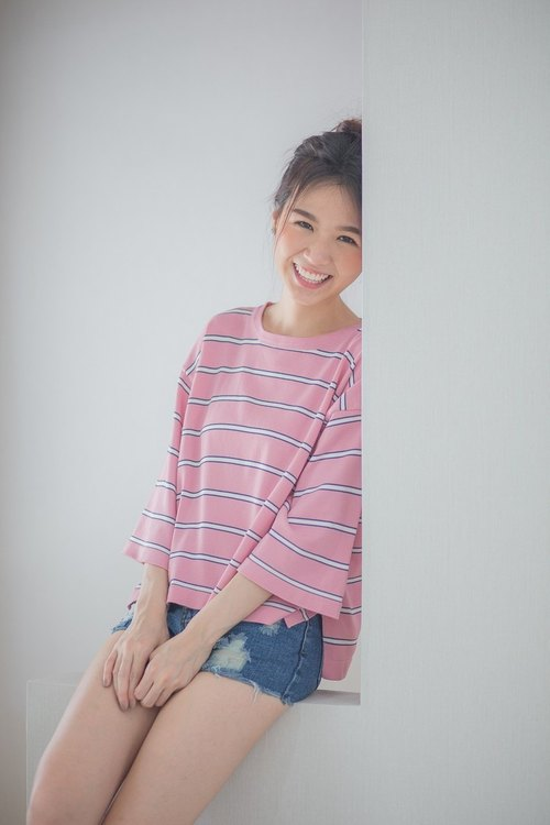 Widesleeve striped top