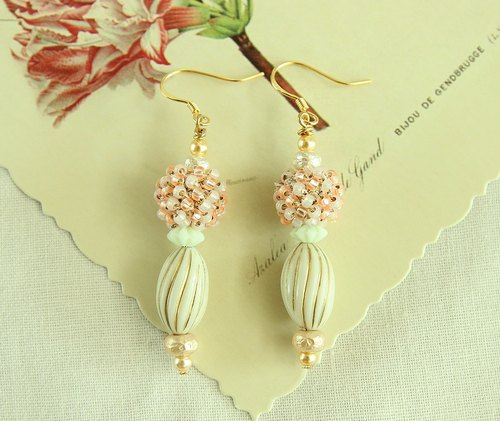 Princess Bobo Earrings/Ear clips Crochet Japanese Glass Beads 925 Sterling Silver Ear Pin Vintage Beads/ Vintage Style---Ivory