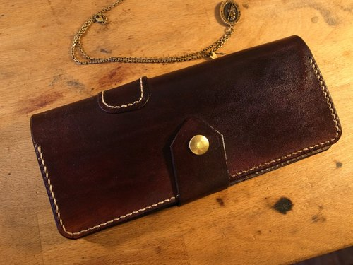 Golden Forest handmade leather original classic burgundy brown leather folder simple hand long cowhide leather wallet long clip gift Pinkoi