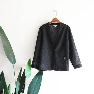 River Water Mountain - Yeouido Pure Black Lace Elegant Girl Antique Cotton Blouse Jacket Jacket
