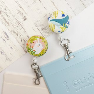 I good clip retractable card holder - summer new (two) - marine whale flower bunny rabbit