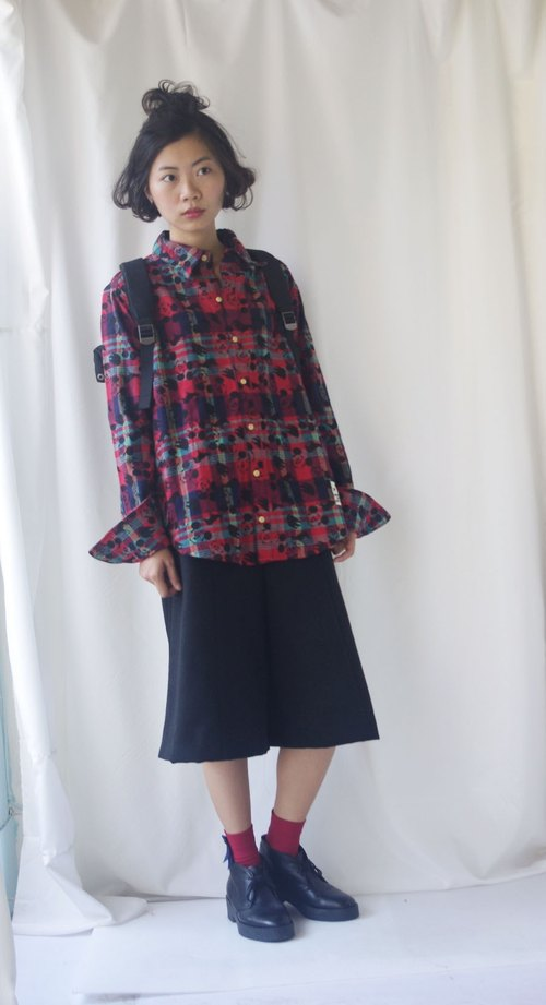 4.5studio- Japan Shimokitazawa vintage -Disny Mickey head red plaid wool shirt