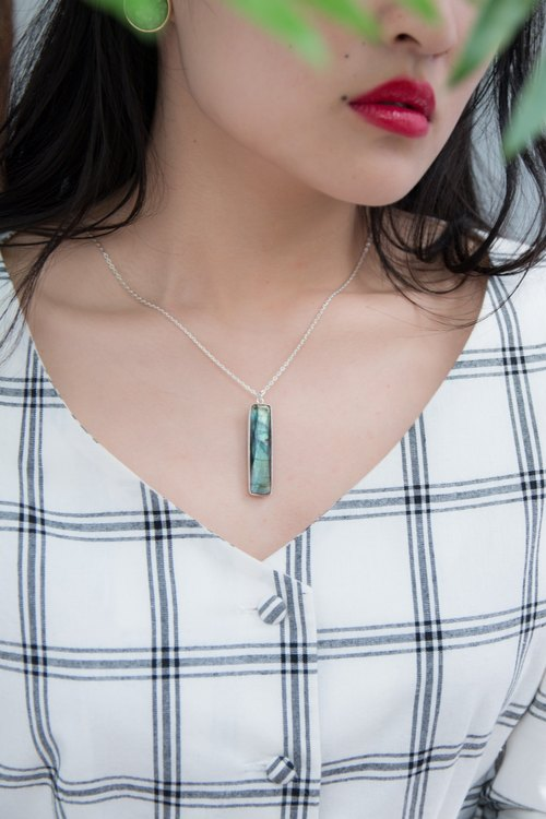 Personalized Rectangular labradorite sterling silver necklace