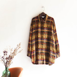 Rivers and mountains - Okayama fine broken Checked young vintage antique cotton shirt shirt jacket shirt oversize vintage