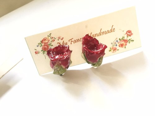 Real flowers rose earrings
