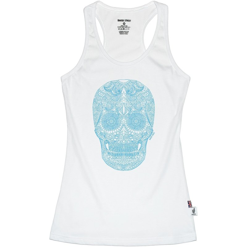 British Fashion Brand [Baker Street]Zentangle Skull Printed Tank Top