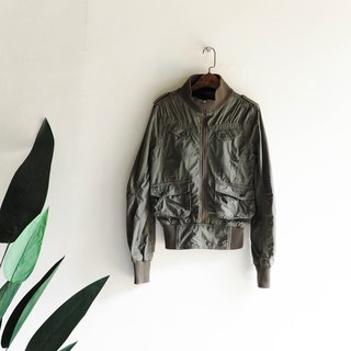 Roots 徳 island army green waist rate independent independent girl antique cotton stand collar zipper jacket