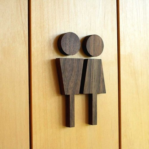 Wooden Bathroom Label