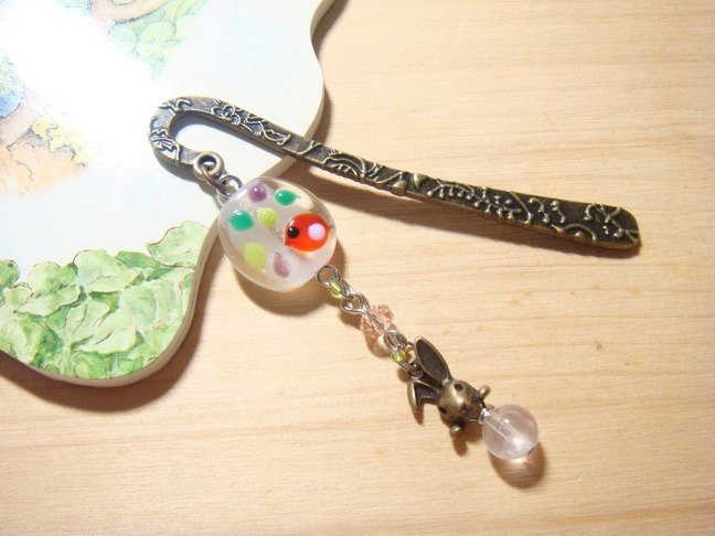 Grapefruit forest handmade glass - to always be a good friend 花 ~ flower vine bookmarks (small)