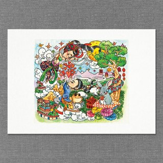 【A4】Hand  draw water colour  printed illustration |  art print | illustration |  wall deco|mooncake festival【An Alternate Version of the Mid Autumn Story】