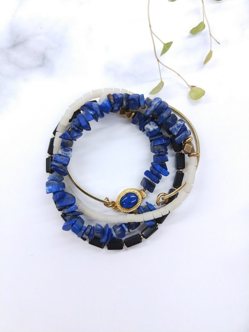 wristband. Hand beat brass*lapis lazuli*black chalcedony * glass multi-ring bracelet bracelet