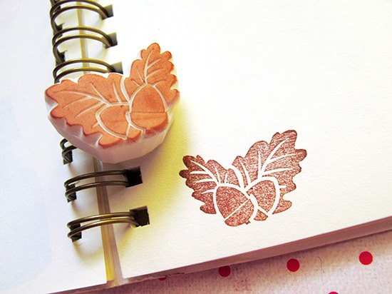 Apu handmade chapter cute retro small oak fruit seal hand stamp