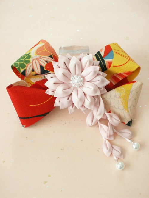 """Resale"" Ribbon Valletta made with knobwork old cloth <Vermilion> Perfect for graduation ceremony ♪"