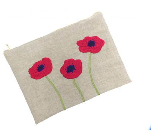 Clutch bag B of anemone embroidery