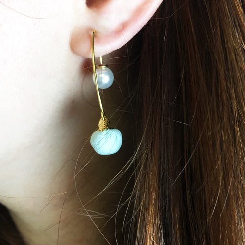 Double-sided hanging earrings - Blueberry - a single branch