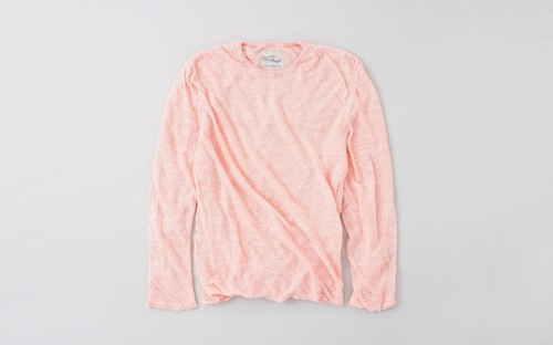 Linen knit mens / M long-sleeved pullover (Pink)