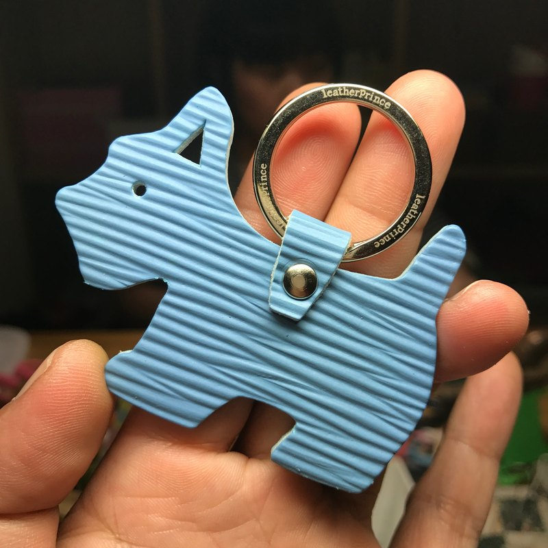 {Leatherprince handmade leather} Taiwan MIT light blue cute shenrui silhouette version leather key ring / Schnauzer Silhouette epi leather keychain in baby blue (Small size /