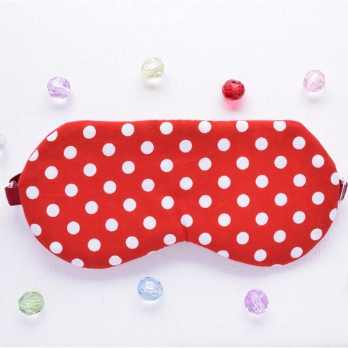 POLKA-DOT red eye mask / Free pouch / polka dot / travel / sleep