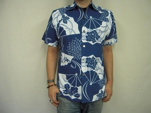 Gauze yukata cloth remake shirt (Ogihana pattern)