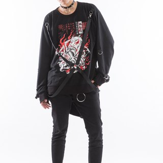 Bai Gui night black cross-woven loose T-shirt