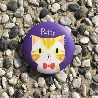Big Head Cat badge - parfait Puffy