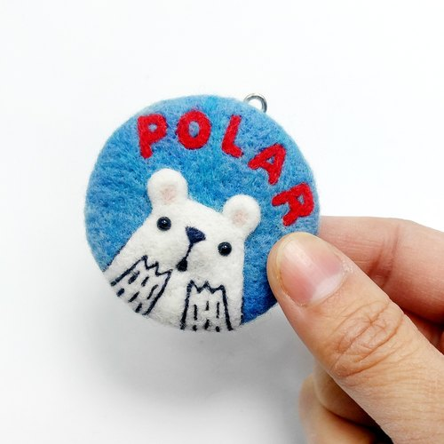 <Wool felt> Oh~o Polar Bear #necklace with adjustable string #keychain #brooch by WhizzzPace