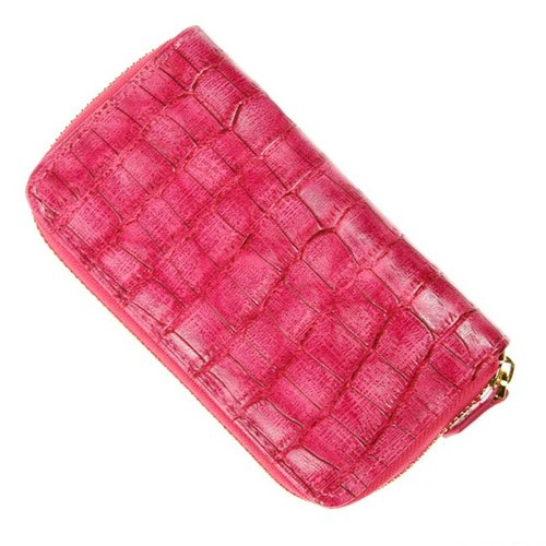 ARTEX makeup bag pen alligator embossed pink
