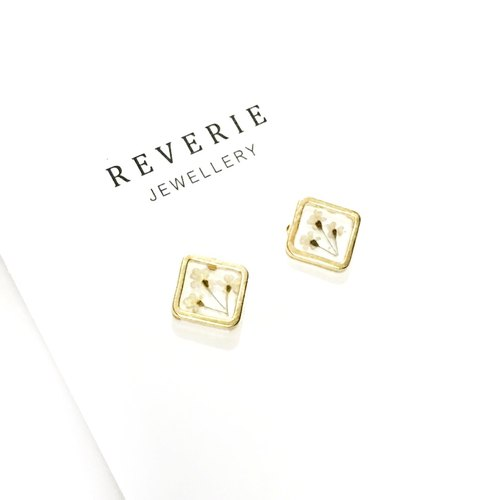 Diamond Golden Framed Earrings