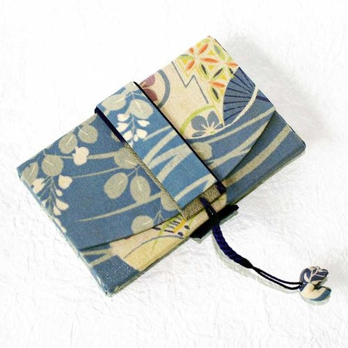 Japanese-style business card holder (umbrella breeze) Antique kimono remake street grass color fans pattern 2