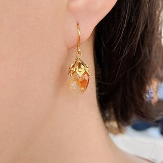 Citrine Filigree Cap Drop Earrings