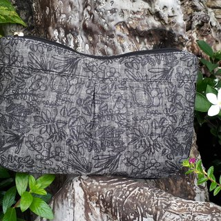 ZIPPY POUCH M LD LEAF PRINTED
