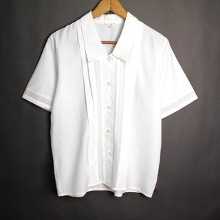 FOAK vintage / white / rose hollow 100% off white shirt