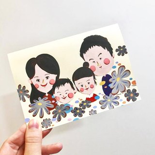 English Cute Style Customized Portrait - 4 Person Family Portrait Mother's Day Gift Family Portrait Birthday / Valentine's Day / Marriage / Christmas / Universal / Teacher's Day / Engagement / Proposal / Mixed Moon Hand Painted Card