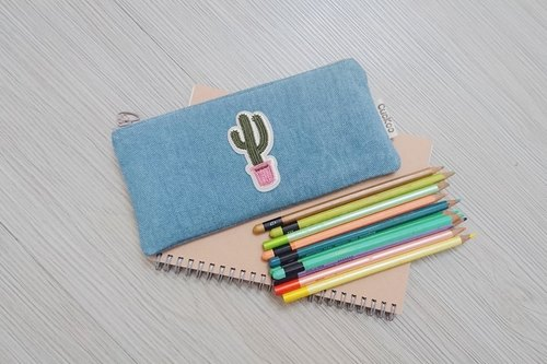 Embroidered Pencil Bag Stationery Denim Pencil Bag Tool Bag Storage Bag Cactus