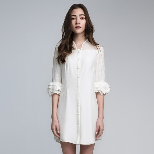 VACAE perspective lace sleeve dress bud