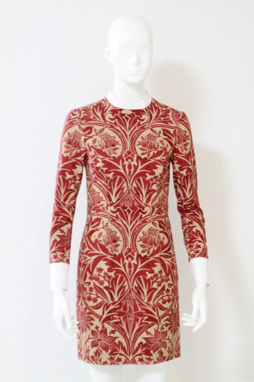 British artists William Morris floral pattern authorized, exclusive design handmade small collar fit short dress